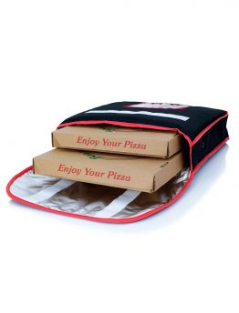 Pizza Delivery Bag Blk W Red Piping