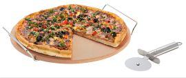 Pizza Stone W Rack / Cutter 33cm
