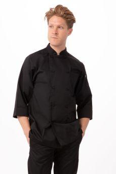 Blk 3/4 Slv Lweight Chef Coat Lge