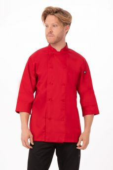 Red Chef Coat 3/4 Sleeve Sml