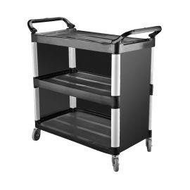 Trolley Plastic 3 Shelf Blk 845x430x950