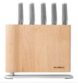 Global Uku 6pce Knife Block - Maple