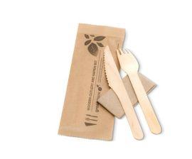 Fork Knife Napkin Wood Set